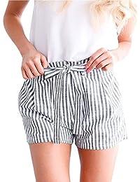 097b0d75db98db ORANDESIGNE Damen Hosen Shorts Sommer Hotpants Bermudas Ultra Strand  Laufgymnastik Yoga der Sporthosen Schlafanzughosen Streifen Print