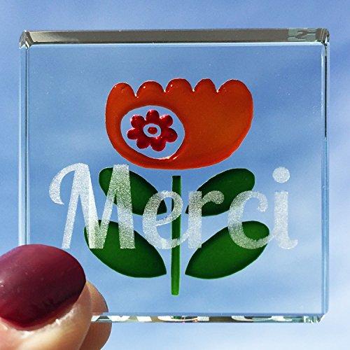 Spaceform Verre Miniature Token Rouge et Orange Fleur Merci 2079