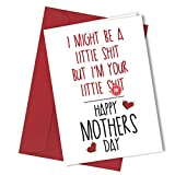 #113 Little Sh*t MOTHERS DAY Greetings Card Funny Humour Mother's Day Mum Mature Greeting Card rude funny humour joke novelty crude cheek A4 folded to A5 (210 x 148mm when folded) By: Close to the Bone