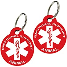 ESA - Pet ID Tags, Various Shapes and Colors, Doubled Sided Emotional Support Animal, Premium Aluminum (Set of 2) (Round, Red)