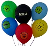 "12"" Party Balloons for Lego-Inspired Party, 6 Colors, 6 Fun Characters! 24 Balloons Total - Great Supplement to Your Lego Party Supplies. Fill Your Lego-Themed Party With Bright Color and Fun!"
