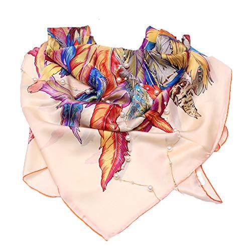 Schals Schal Damen Mütze Umschlagtücher Seide Große quadratische Handtuch Vier Jahreszeiten Kleidung Sonnencreme Baotou Druckverfahren Chiffon Tingting (Farbe : Beige, größe : 110 * 110cm)