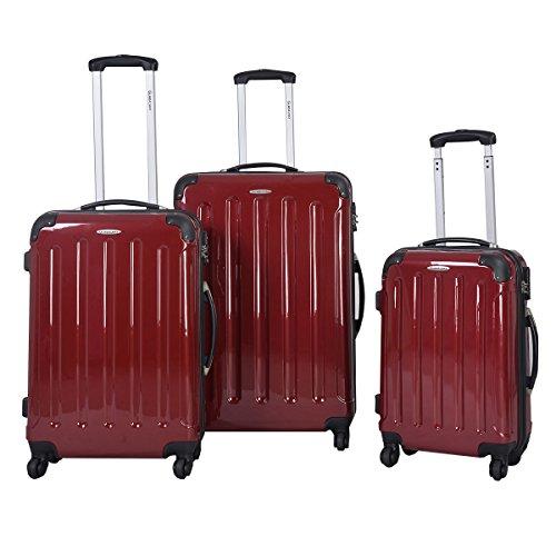 GLOBALWAYReisekoffer Trolley Set Koffer Reise Kofferset ABS 3tlg. Set Hartschale(Weinrot)