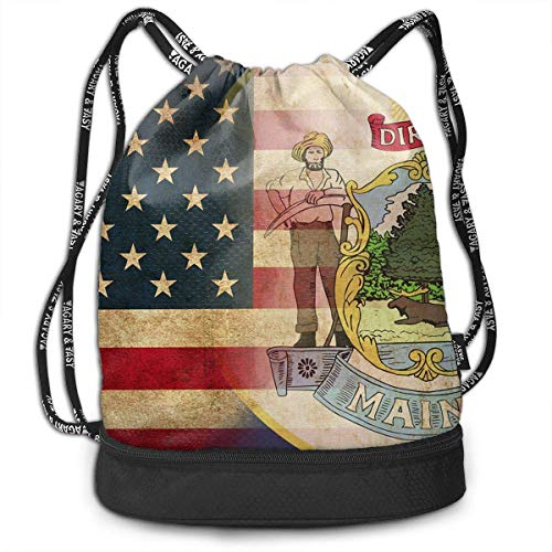 CHSUNHEY Turnbeutel,Sporttaschen,USA Maine State Flag Multipurpose Eco-Friendly Luggage Drawstring Backpack Bag Bundle Pocket Daypack Gym Eco-Friendly Luggage Drawstring Backpack Shoulder Bags -