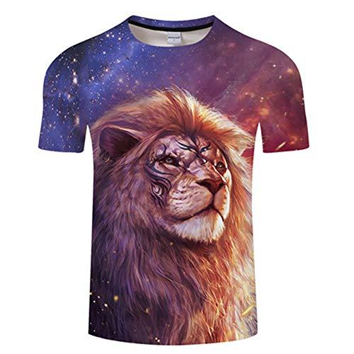 Ywfzzxs T-Shirt 3D Tops Mode-T-Shirts Unterhemden Kurzarm Unisex Neuheit Kostüm HD Anime Druck König Der (Machen Sie Ein König Der Löwen Kostüm)