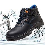 SUADEEX Mujer Hombre Zapatillas de Seguridad Botas con Puntera de Acero Impermeables Piel de Vacuno Zapatos de Trabajo...