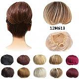 12H613 Light Golden Brown & Bleach Blonde : FESHFEN Bridal Hair Bun Updo Scrunchy Scrunchie Hairpiece Wig Hair...