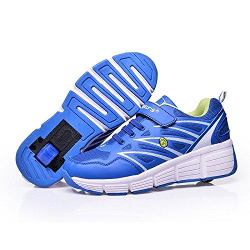 TeraSeven Sneakers Unisexe Chaussures Plate Respirante à roulettes Skateboard Heelys Enfant Fille Garçon Chaussures de sport 101Bleu