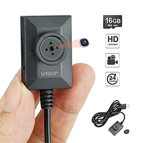 WISEUP 16GB Button Spy Camera Mini DV Camcorder with 7/24 Hours Loop Video Recording 2 Meters USB