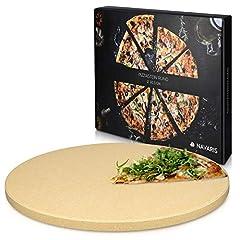 Idea Regalo - Navaris Pietra refrattaria per Cottura Pizza XL - per cuocere nel Forno di casa Pane Pizza focacce teglia Tonda 30,5 (Ø) Cottura Fino a 800° Cordierite
