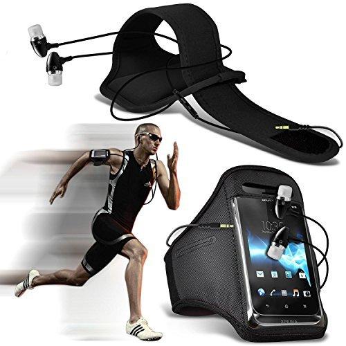 N4U Online - Microsoft Lumia 640 XL LTE Dual Sim schützend Stilvoll passende Sport Armbänder Fahrrad Laufen Radfahren Fitness Joggen Reiten Armtasche Etui Hülle mit PREMIUM QUALITäT IM OHR Knospen