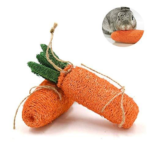 Pomlink Kauspielzeug für Kaninchen, natürlich, ungiftig, für Karotte, Kauen, Zähne, Spielzeug für kleine Tiere, 2 Stück -