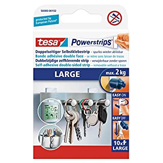 tesa Powerstrips Large Removable Self Adhesive Picture or Poster Hanging Strips - 10 Strips