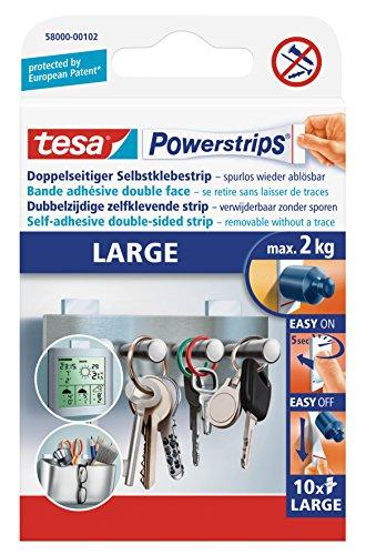 Tesa Powerstrips Klebestreifen, groß, selbstklebend, abziehbar, 10Stück