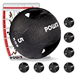 Medizinball mit Griffen Profi 3 - 10 kg von POWRX | schwarz Gewichtsball Studioqualität schwarz (5 kg)