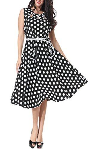MILEEO Damen Vintage Kleid mit Polka Punkte Print und Gürtel Knielang A-Linie Festlich Abendkleid Partykleid Ärmellos Übergröße Schwarz und weiß