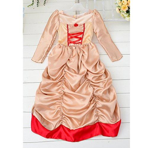 ihnachten Cosplay Bubble lange Kleider Kostüm Kinder Prinzessin Kleid (Farbe: Aprikose + rot) (Größe: 120cm) (Slash Kostüm Für Kinder)