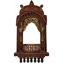 APKAMART Handcrafted Wooden Traditional Jharokha in Copper Colour - 27 inch