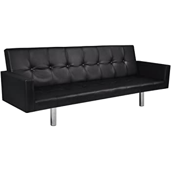 Festnight Kunstleder Sofabett Schlafsofa Loungesofa Couch mit Armlehnen Rückenlehne Schwarz
