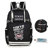 Cosstars Tokyo Ghoul Anime Backpack Schultasche Student Laptoprucksack Rucksack mit USB-Ladeanschluss Rot
