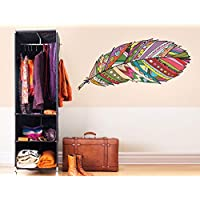 "Walltattoo Bedroom""Feather with Indian patternWall Sticker Decoration Sticker Sleeping Place Easy to Apply and Removed"