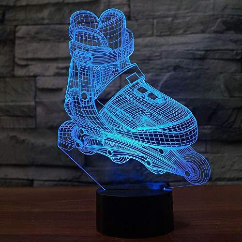 3D Led Roller Skating Modellierung Nachtlicht 7 Farben Ändern Aggressive Inline Schreibtischlampe Jungen Schlafzimmer Nacht Dekor Licht Upusb wiederaufladbare Athleten Sport Guy Jungen Mädchen Präsent - Skating-filme Roller