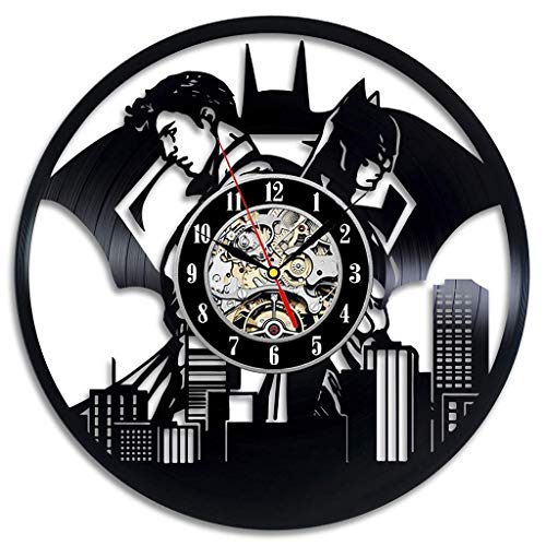 Batman Film Vinyl Record Clock Home Design Zimmer Kunst Dekor handgefertigt Vintage (Farbe: H, Größe: 12 Zoll)
