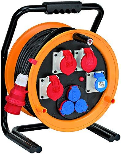 Brennenstuhl Brobusta CEE 4 IP44 Industrie-/Baustellen-Kabeltrommel (40m - Spezialgummi, Baustelleneinsatz und Einsatz im Außenbereich, Made In Germany) gelb