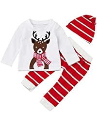 6-24 mois Bebe Noel Deguisement Cerf Motifs Pyjama de de Ensemble et Bonnet