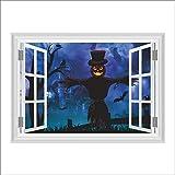 Qtydmdh Halloween Zucca Lanterna Fantasma Pipistrello Volante Wall Sticker Soggiorno Camera Da Letto 3D Finestra Decalcomania Della Parete Murale Art Poster Decorazione