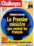 Telecharger Livres CHALLENGES No 175 du 04 04 2002 PLACEMENT COMMENT JOUER LE CAC 40 PORTRAIT BERNARD ARNAULT LE DECU DU NET SONDAGE EXCLUSIF LE PREMIER MINISTRE QUE VEULENT LES FRANCAIS 50 IDEES DE LONGS WEEK ENDS (PDF,EPUB,MOBI) gratuits en Francaise