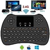 Mini-Tastatur, super-vip H9 2,4 GHz Mini Wireless Tastatur mit Maus Touchpad wiederaufladbar Combos für Android TV Box, KODI, HTPC, IPTV, PC, PS3, XBOX 360, Raspberry Pi 3, Nvidia Shield TV (H9 BACKLIT)