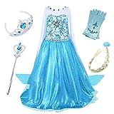 FStory&Winyee Kinder Eiskönigin ELSA Cosplay Kostüm Mädchen Prinzessin Blau Kleid Karneval Party Verkleidung Halloween Fest