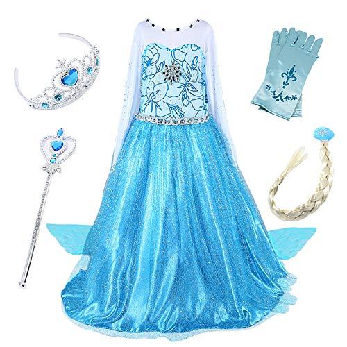 FStory&Winyee Kinder Eiskönigin ELSA Cosplay Kostüm Mädchen Prinzessin Blau Kleid Karneval Party Verkleidung Halloween ()