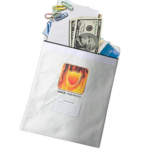 Aoxun Feuerfeste Tasche Safe Fire Resistant Schutztasche für Dokumente Passport Bargeld Batterien und Wertsachen Feuerbeständige Dokumententasche (15''X 11 '')