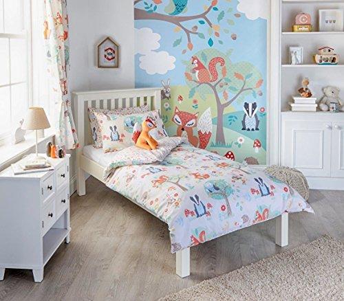 Kids Single Wald Tiere braun orange Baumwolle-Mischung Bettbezug Set