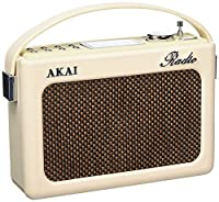 Akai A60015CN Vintage Retro Radio AM/FM, Alarm Clock with LCD Screen and Snooze Function, Compatible with SD Card/USB/AUX - Cream