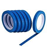6 pièces Painters Tapes Bleu Rubans de masquage Multi-fonction 1/2-pouce vpar 30 mètres, 180 m de longueur en totale
