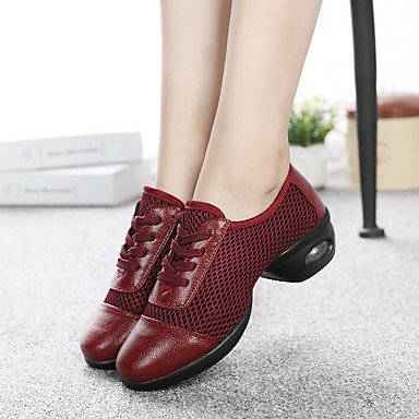 Frauen Tanzschuhe Leder Synthetische Tanz Sneakers Sneakers Low Heel Performance Drak Rot Schwarz Weiß Black VlGXWpsdy