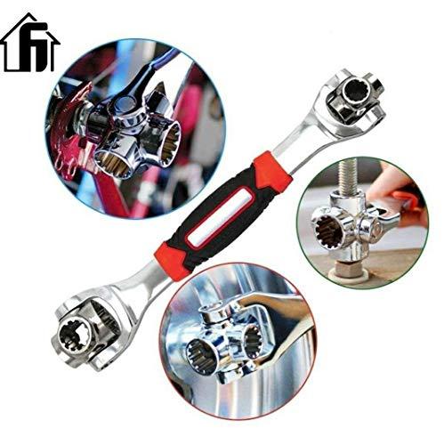 Nifogo Schraubenschlüssel 48 in 1 Multifunktionsschlüssel Werkzeug, Steckschlüssel-funktioniert Spline-Schrauben 360 Grad 6-Kant,Universal Möbel Auto Reparatur(Rot)