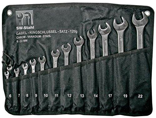 SW-Stahl 00925L Jeu de clés mixtes à fourche 12 pièces, 6-22 mm, 00912l