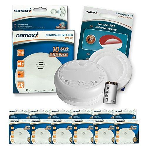 6x Nemaxx WL10 Funkrauchmelder - mit 10 Jahre Lithium Batterie Rauchmelder Feuermelder Set Funk koppelbar vernetzt - nach DIN EN 14604 + 6x NX1 Quickfix Befestigungspad