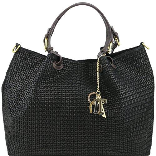 Tuscany Leather TL KeyLuck - Borsa shopping in pelle stampa intrecciata - Misura Grande Nero Borse donna a tracolla