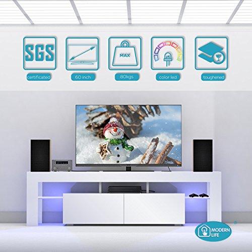 Vibrant Globe Moderne Meuble TV 160 cm Blanc Mat Corps unité Meubles Haute Brillance
