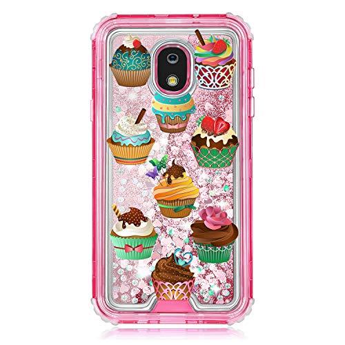 TurtleArmor Schutzhülle für Samsung Galaxy J7 (2018) J737, Rosa passgenau, doppellagig, TPU, mit fließender Flüssigkeit, Wasserfall, Quicksand Glitzer, glitzernde Herzen -, Cupcakes (Cell Cricket Android Phones)