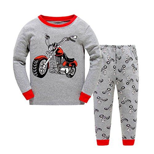 Kinder Jungen Zweiteiliger langärmliger Schlafanzug Baumwolle Motorrad Größe 2 Jahr (Motorrad-kinder-pyjama)