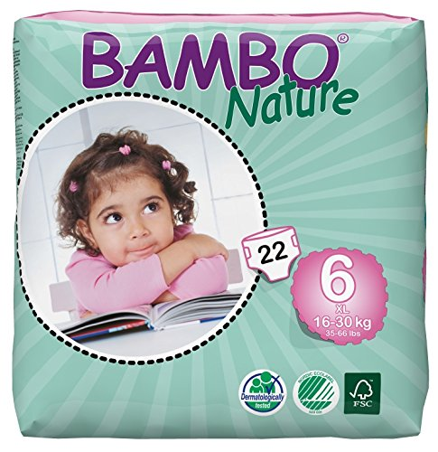 Bambo Nature Premium Baby Diapers, X-Large, Size 6, 22 Count by Bambo Nature