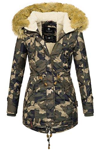 Bedeckt Knopf Vorne (Navahoo warme Damen Winter Jacke Teddyfell Winterjacke Parka Mantel B399 (M, Camouflage - Army))