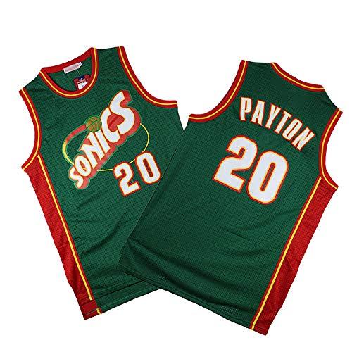 Z-ZFY Ärmelloses Herren-Top NBA Gary Payton # 20 Thunder Basketball Jersey Fan-T-Shirt in Oklahoma City Atmungsaktives, Schweißabsorbierendes Material,L175~180cm/75~85kg