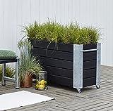 Woodinis Cubic Hochbeet Blumenkasten PSY rollbar 120x50x70 schwarz - Woodinis-Spielplatz®